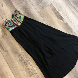 Billabong Strapless High Low Tribal Print Dress